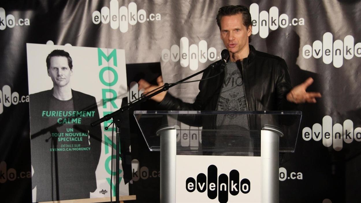 François Morency en conférence de presse pour son spectacle «Furieusement calme».