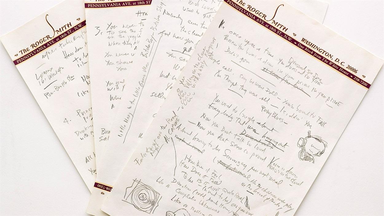 Le manuscrit de la chanson «Like a Rolling Stone» de Bob Dylan.