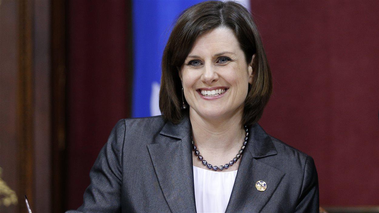 Stéphanie Vallée lors de son assermentation comme ministre de la Justice, le 23 avril 2014.