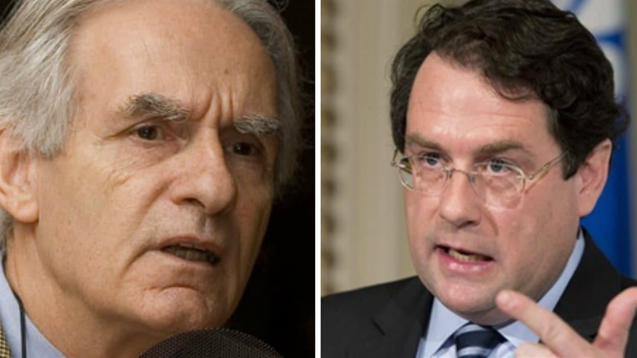 Gérard Bouchard (à gauche) et Bernard Drainville (à droite)