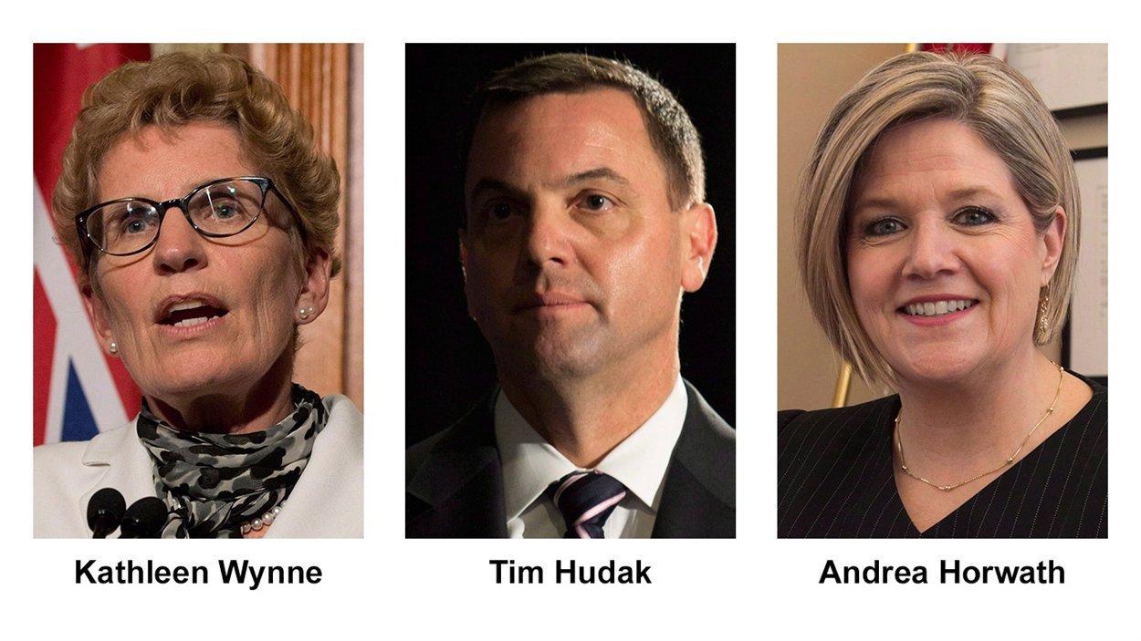 La chef libérale, Kathleen Wynne; le chef conservateur, Tim Hudak; la chef néo-démocrate, Andrea Horwath