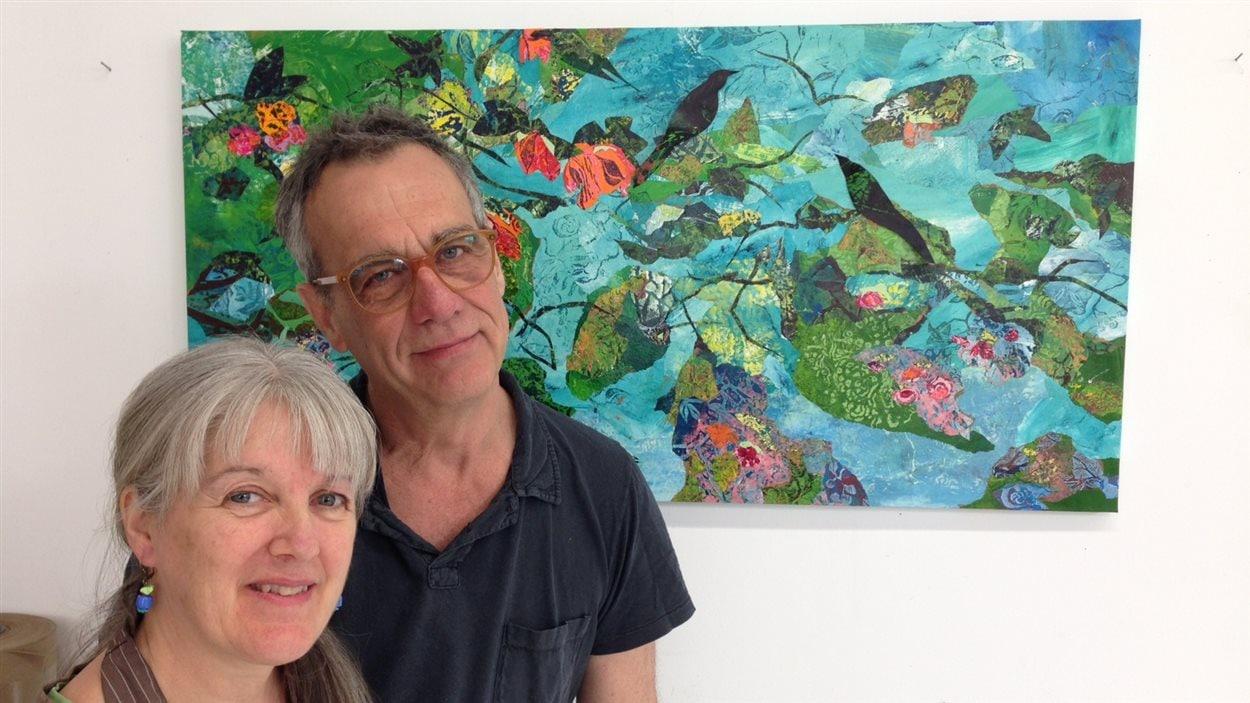 La peintre-collagiste Marie-Andrée Couture et son conjoint le peintre Claude Le Blanc