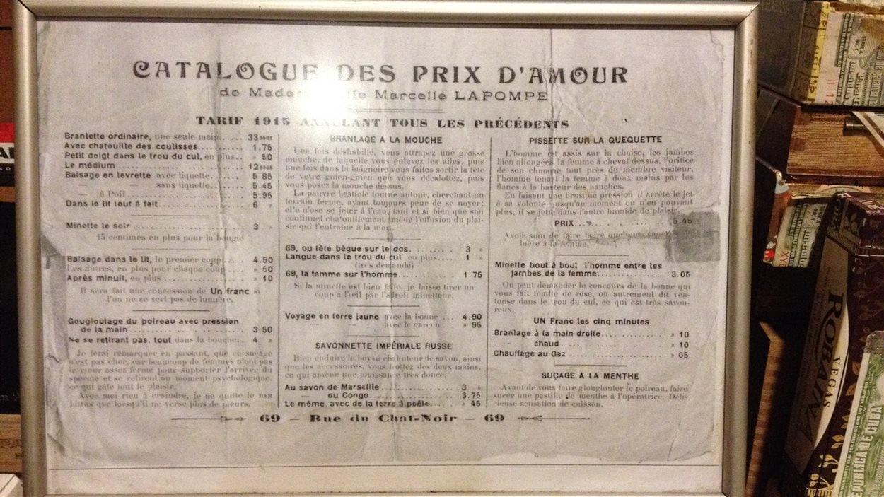 Le catalogue des prix d'amour en 1915