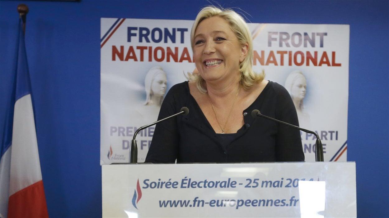 La chef du Front national Marine Le Pen réagissant aux résultats de l'élection européenne en France, le 25 mai 2014