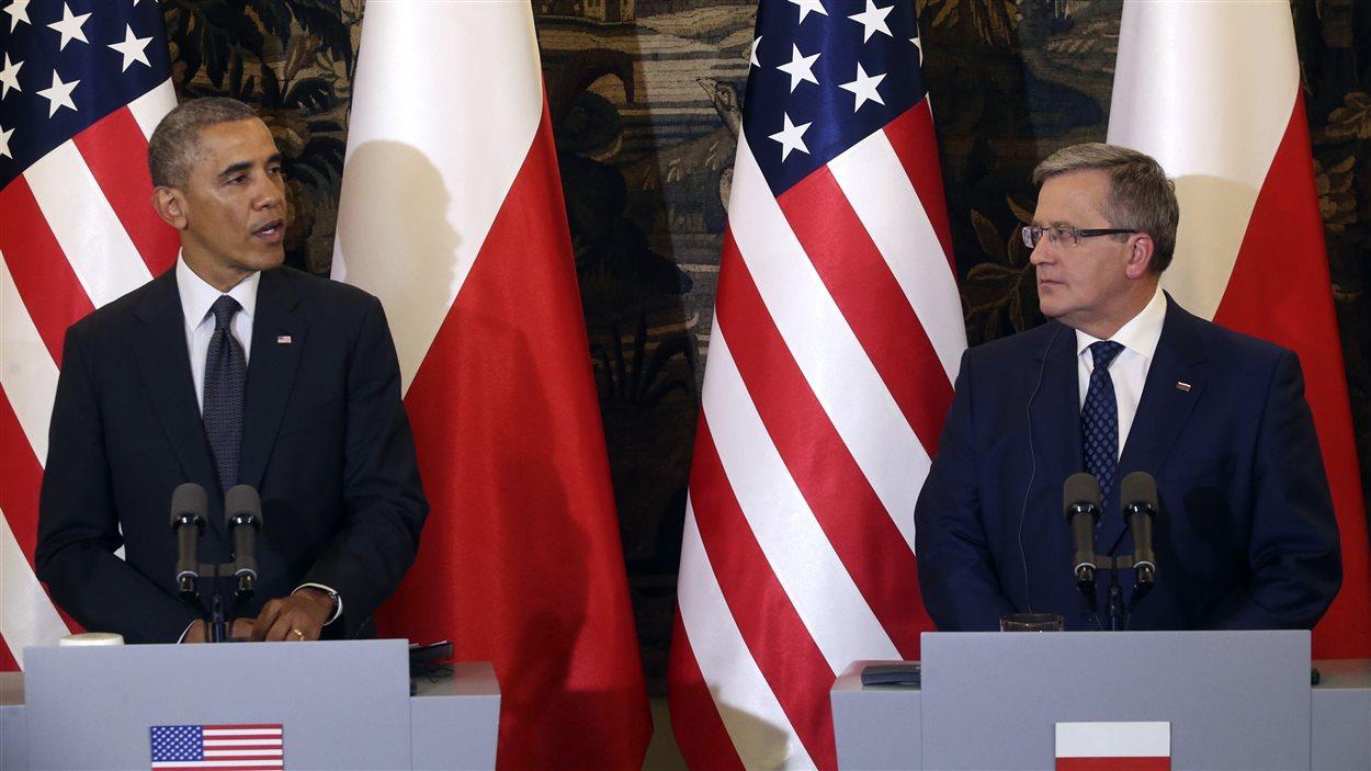 Le président Barack Obama, en conférence de presse aux côtés de son homologue polonais, Bronislav Komorowski, à Varsovie, le 3 juin