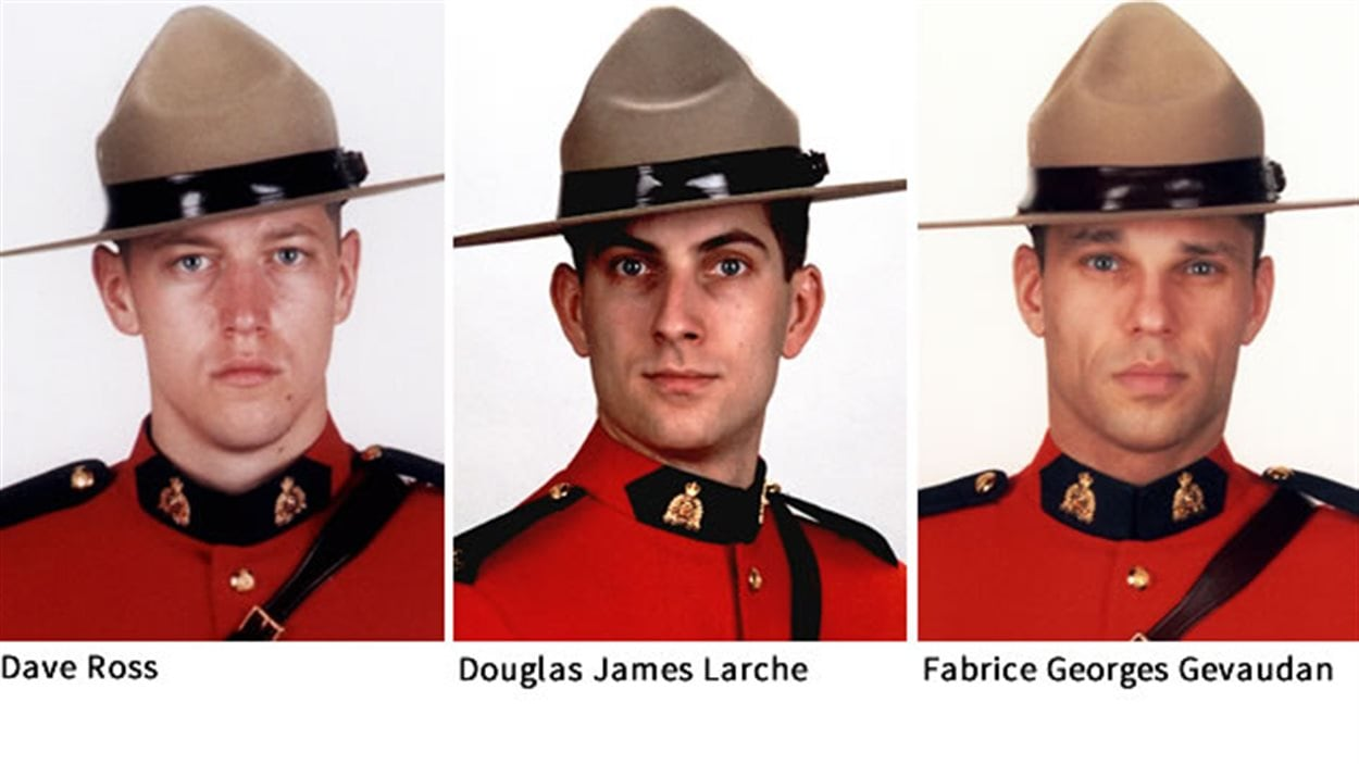Les trois policiers tués à Moncton : Dave Ross, Douglas James Larche et Fabrice Georges Gevaudan