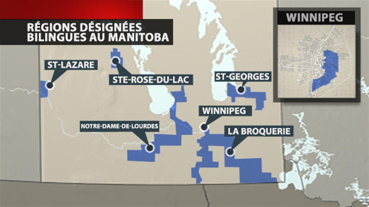En bleu, les régions désignées bilingues au Manitoba.