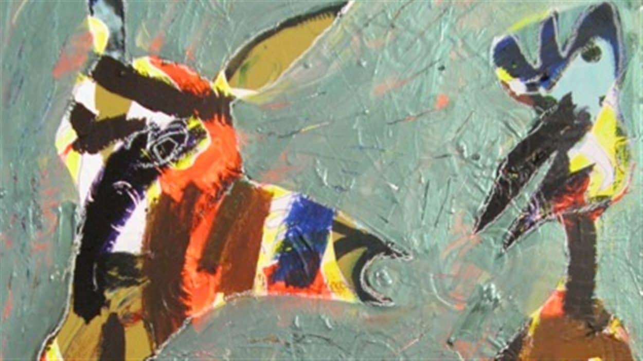 Le veau et l'oiseau, oeuvre d'Annie Brunette