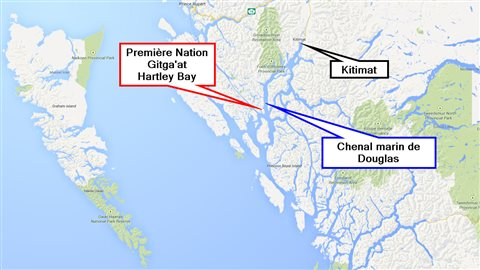 Carte illustrant la position du chenal marin de Douglas entre Kitimat et Hartley Bay.