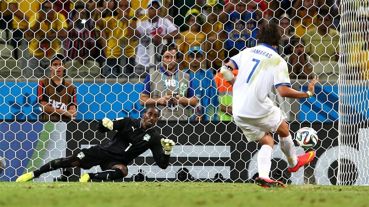 Giorgos Samaras permet à la Grèce d'atteindre les huitièmes de finale.