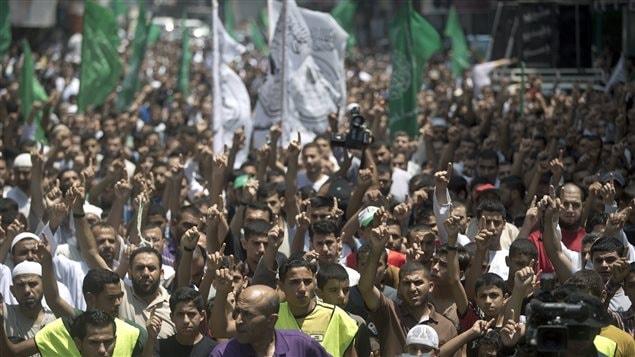 Des partisans du Hamas manifestent contre l'enlèvement et l'assassinat d'un adolescent palestinien et contre les attaques israéliennes de la bande de Gaza, le 4 juillet 2014, au camp de réfugiés de Jabalya.