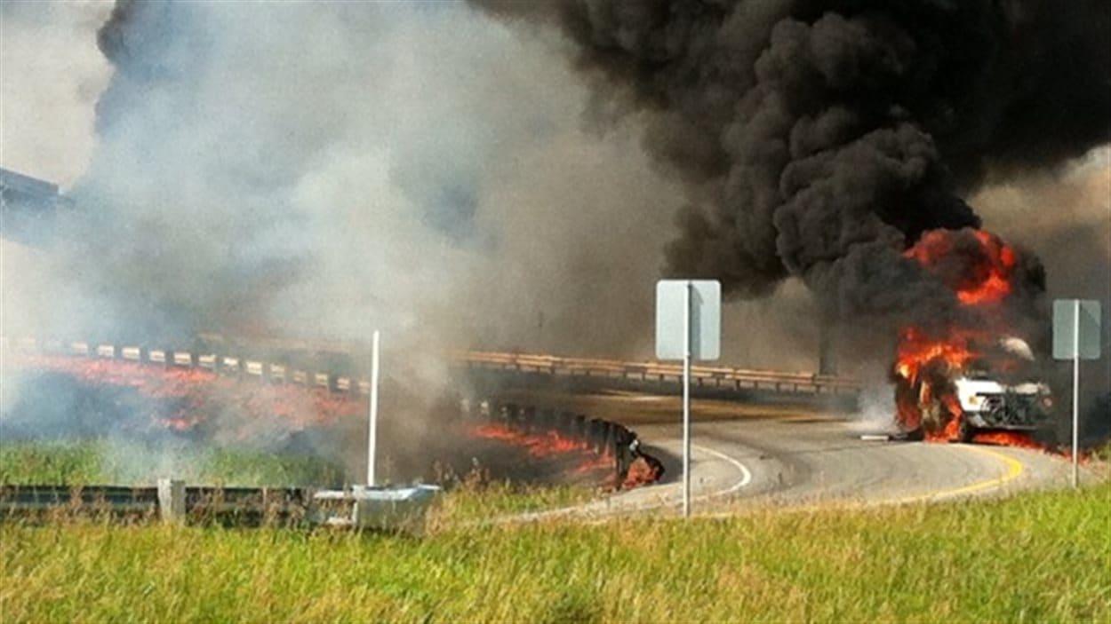 L'accident est survenu sur une bretelle de l'autoroute 640, avant l'autoroute 40, près de Charlemagne.