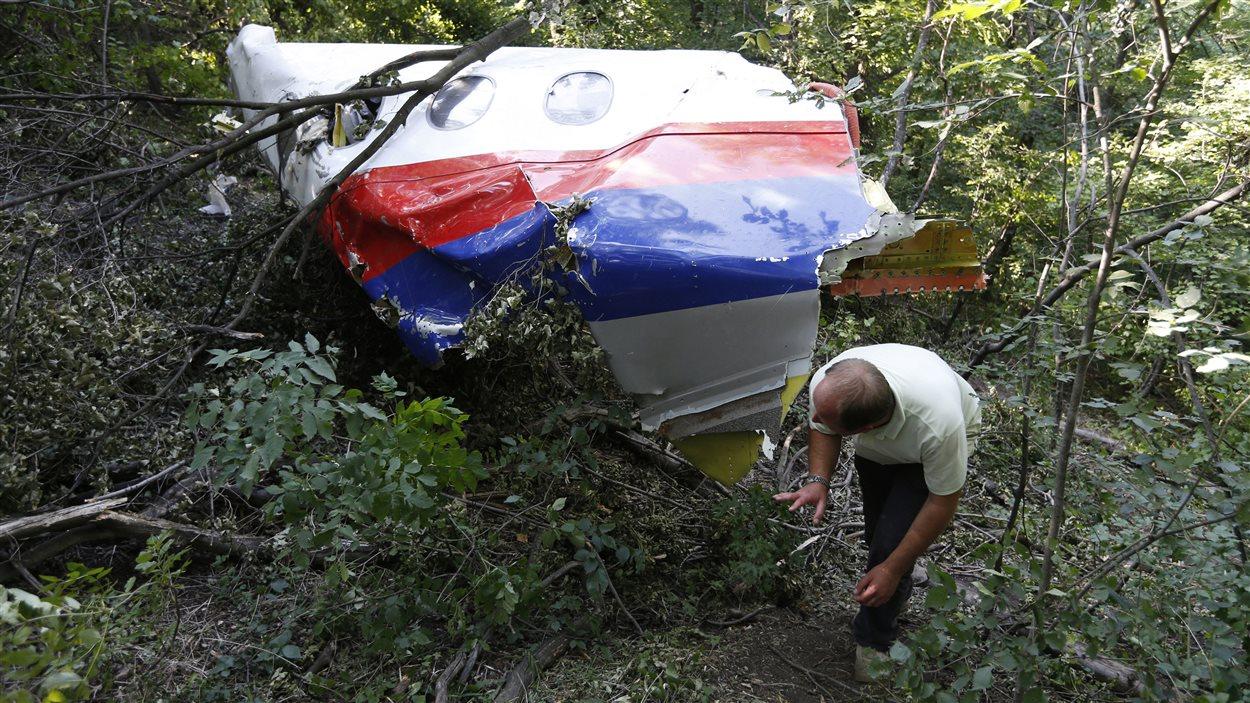 Un homme observe une partie de la carcasse du vol MH17 près du village de Hrabove, en Ukraine