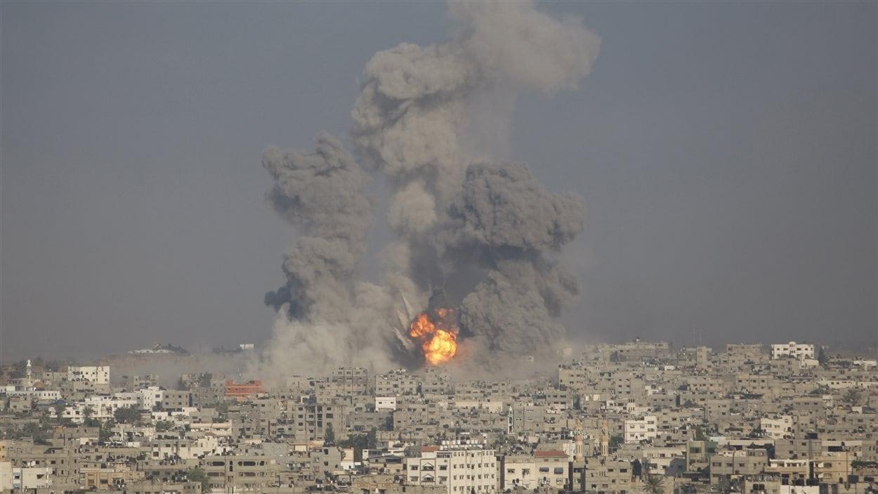 Un quartier de Gaza bombardé.
