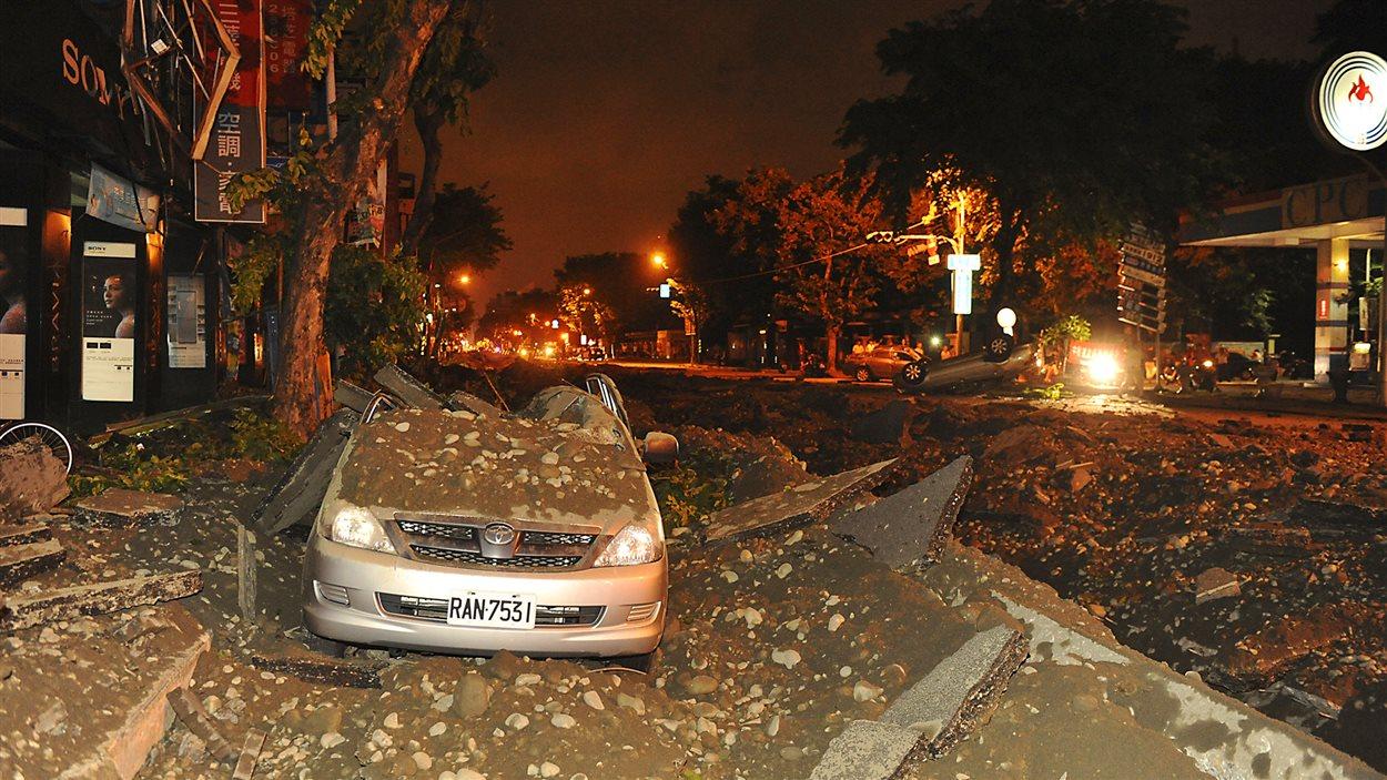 Une scène de dévastation à Taiwan