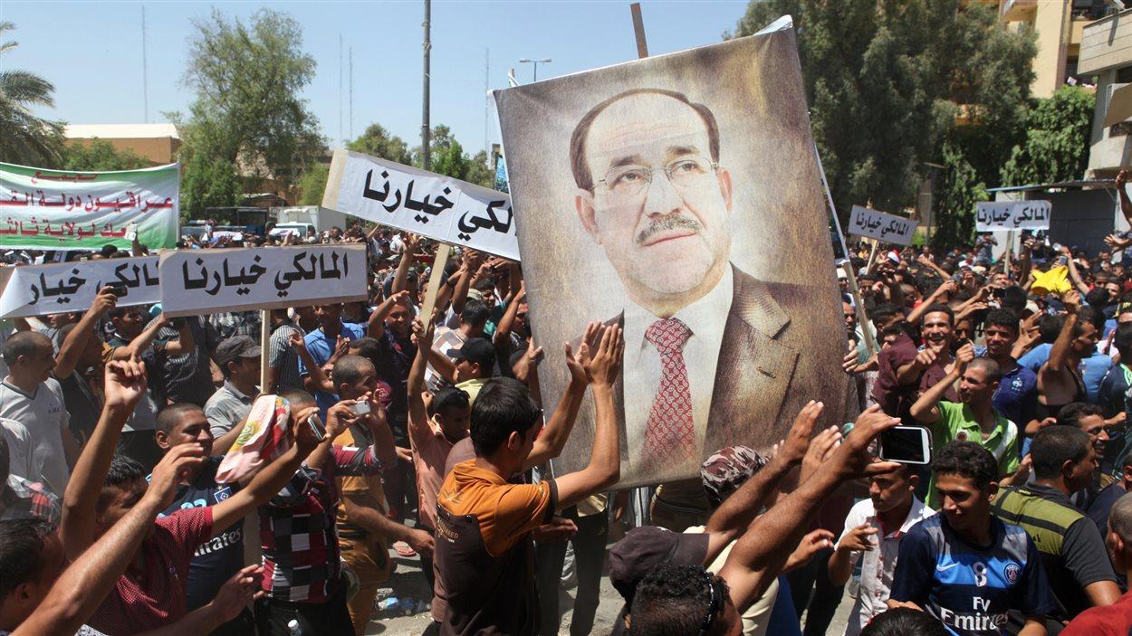 Une manifestation en faveur du premier ministre sortant Al-Maliki (11 août 2014)