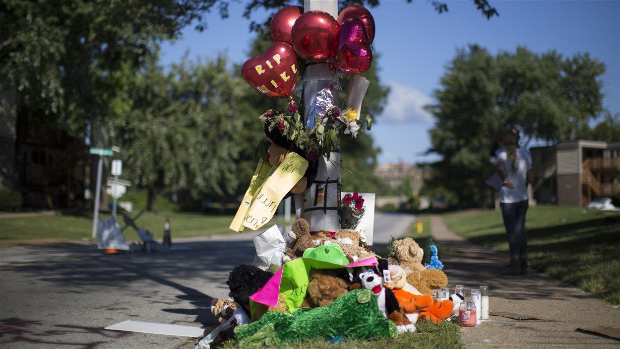 Des citoyens ont déposé des peluches et des fleurs près de l'endroit où Michael Brown a été abattu, à Ferguson, dans le Missouri