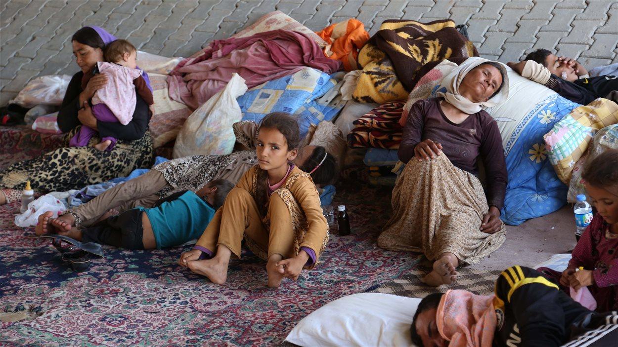 Des membres de la communauté yézidie se sont installés sous un pont après avoir été chassés de leur village. Les Nations unies ont classé la crise humanitaire en Irak au plus haut niveau de leur échelle.