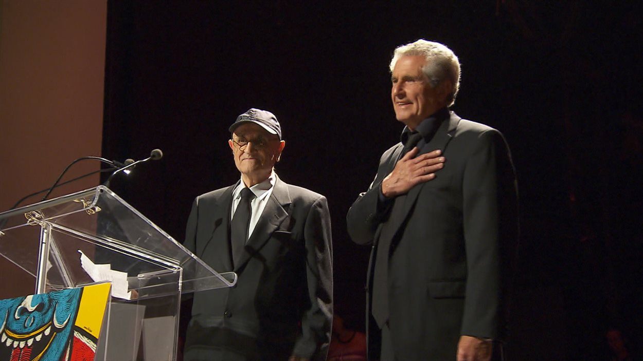 Claude Lelouch et Serge Losique lors de l'ouverture du 38e Festival des films du monde