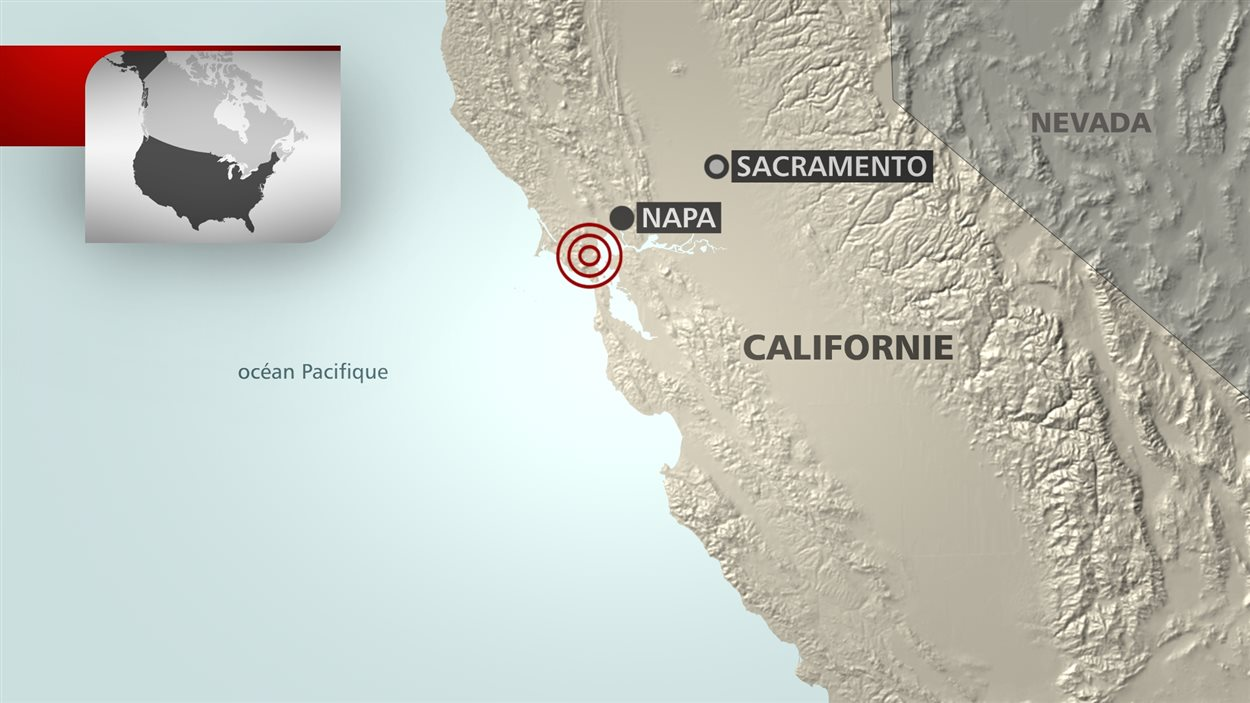 L'épicentre du séisme a été localisée au sud-est de Napa.
