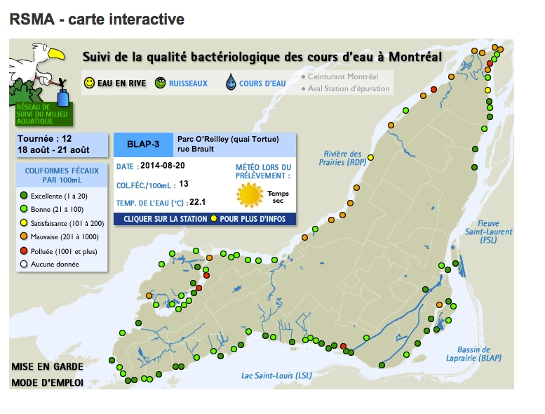 Suivi de la qualité bactériologique des cours d'eau à Montréal
