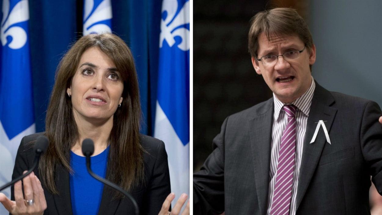 Les députés péquistes Véronique Hivon et Sylvain Gaudreault.