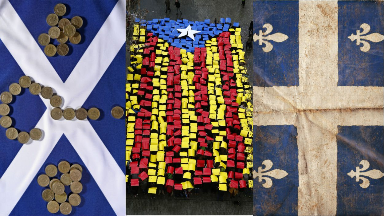 Drapeaux de l'Écosse, de la Catalogne et du Québec.