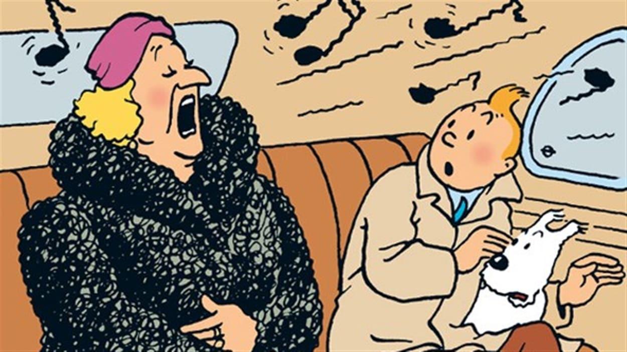 Une image tirée d'un album des aventures de Tintin, <i>Le sceptre d'Ottokar</i>
