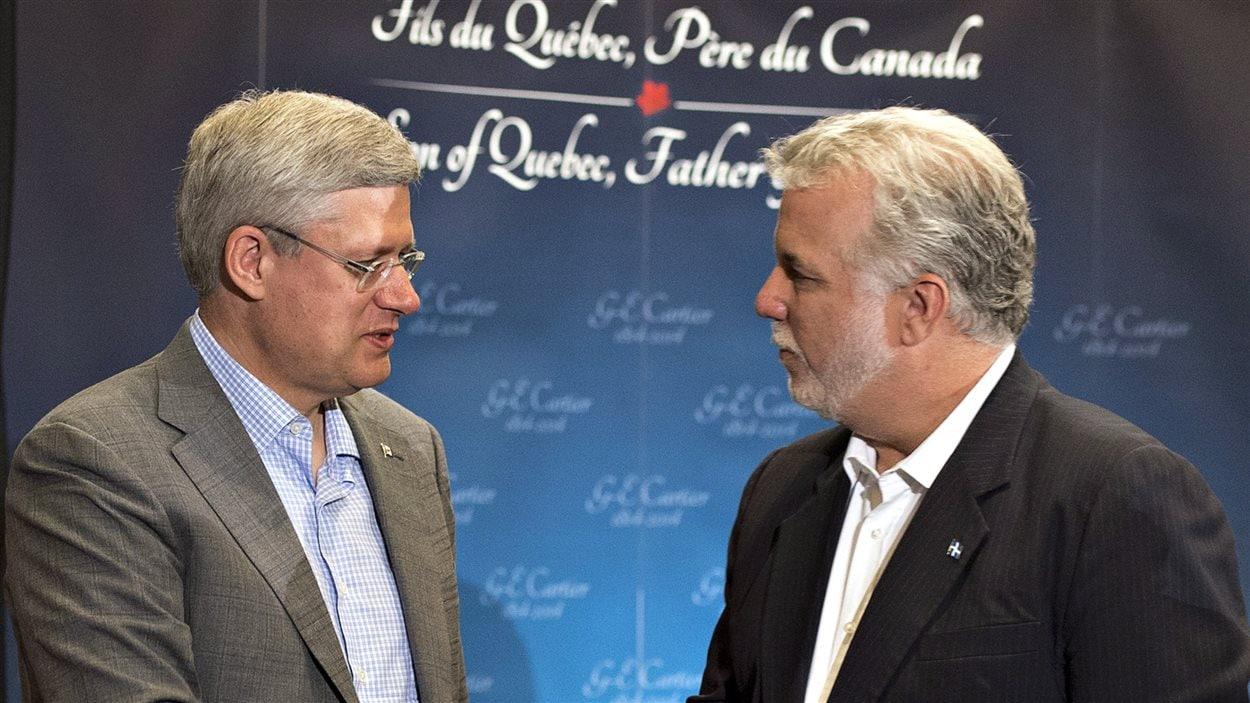 Les premiers ministres Philippe Couillard et Stephen Harper