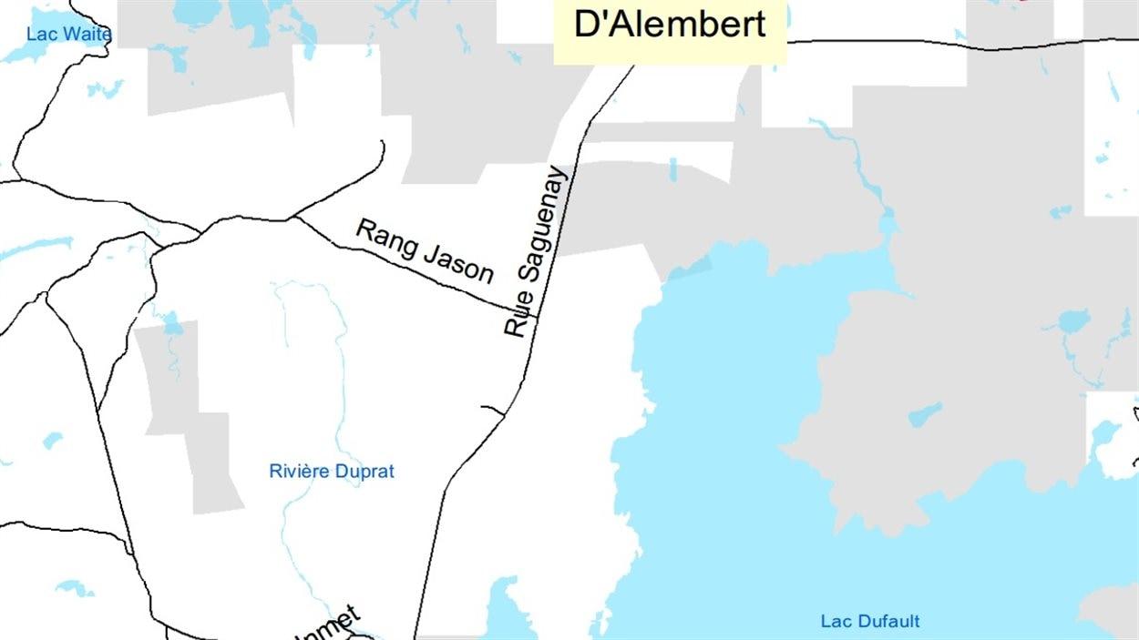 Carte de la Ville de Rouyn-Noranda où l'on peut y voir la Rivière Duprat.