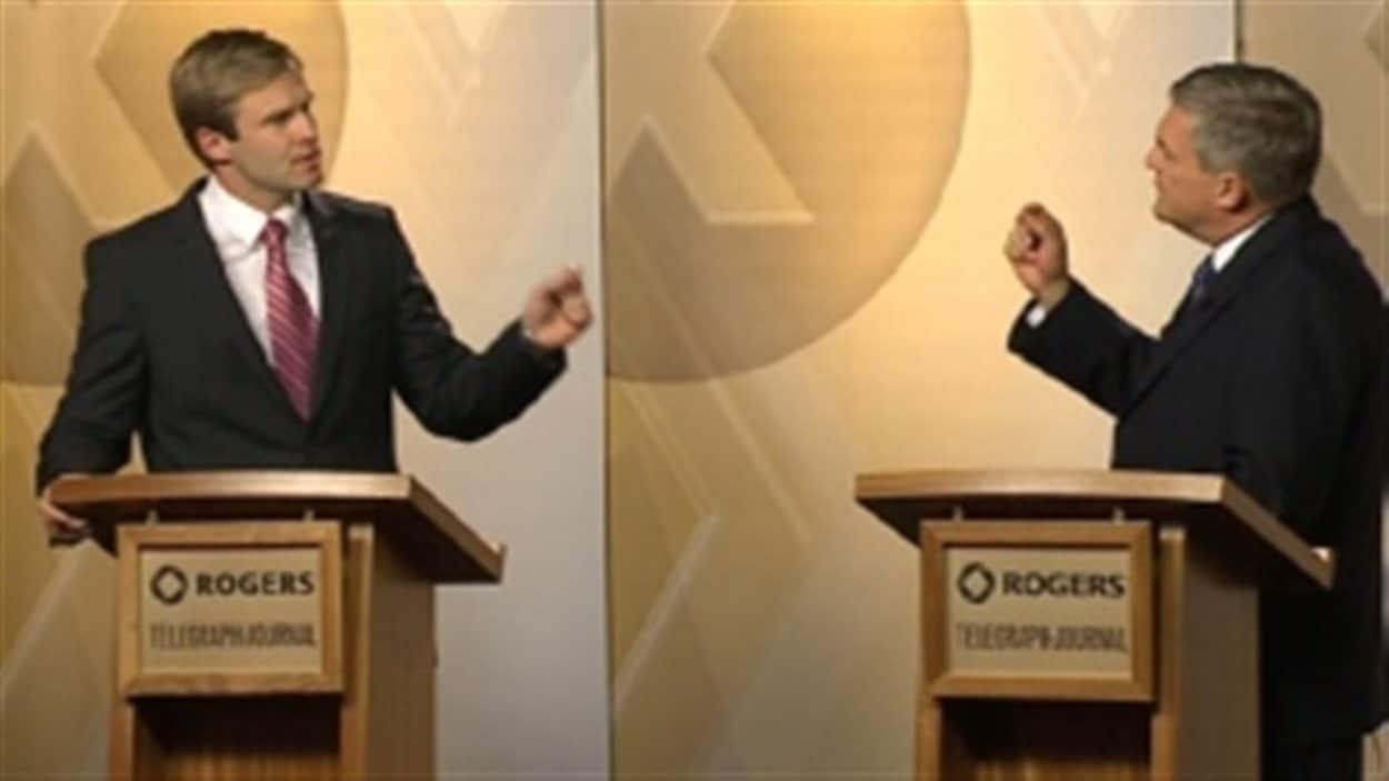 Brian Gallant, du Parti libéral, et David Alward, du Parti progressiste-conservateur