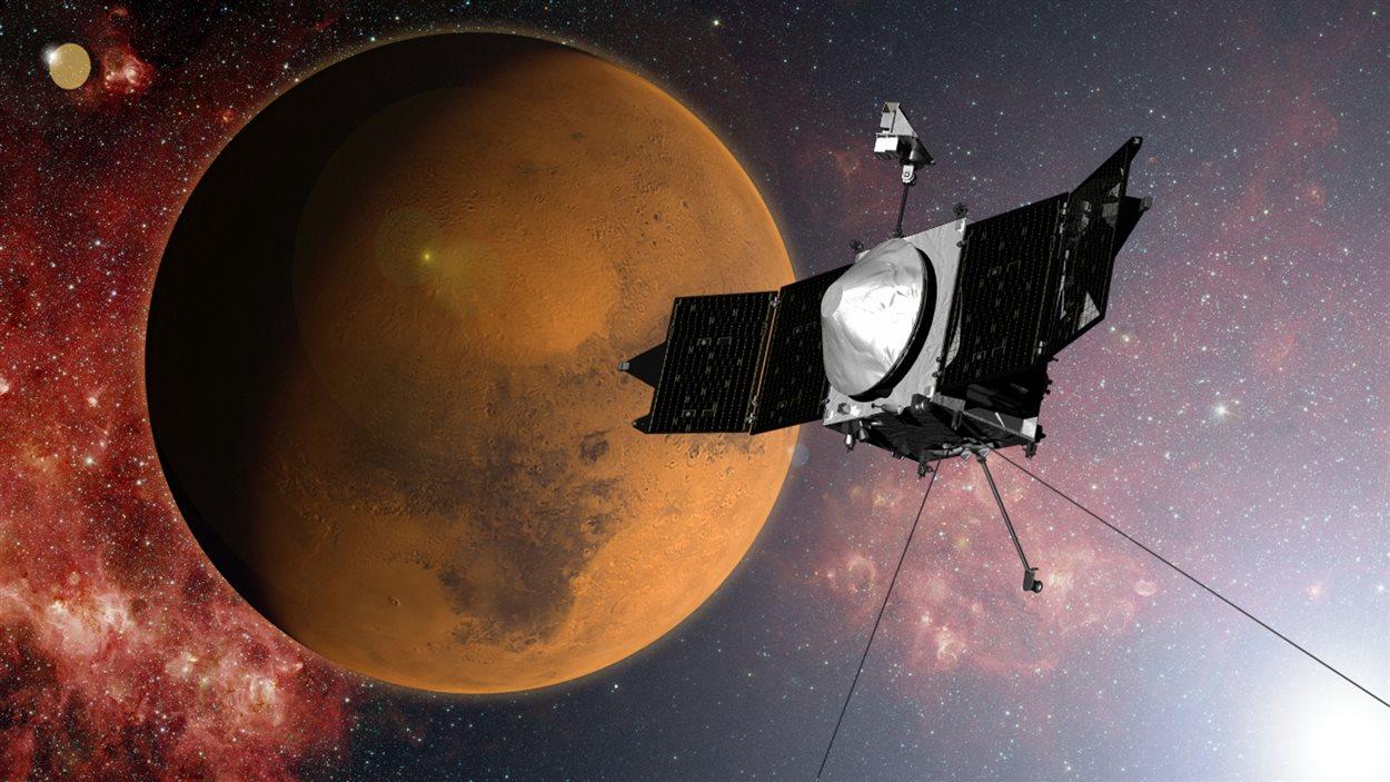 Représentation artistique de la sonde Maven s'approchant de Mars
