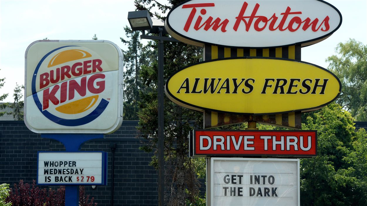 Affiches de Burger King et de Tim Hortons