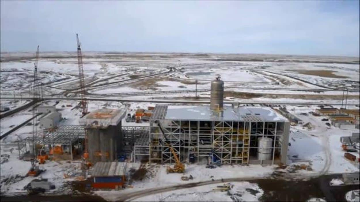 Vue du chantier de construction de l'usine de captage de carbone à Estevan.