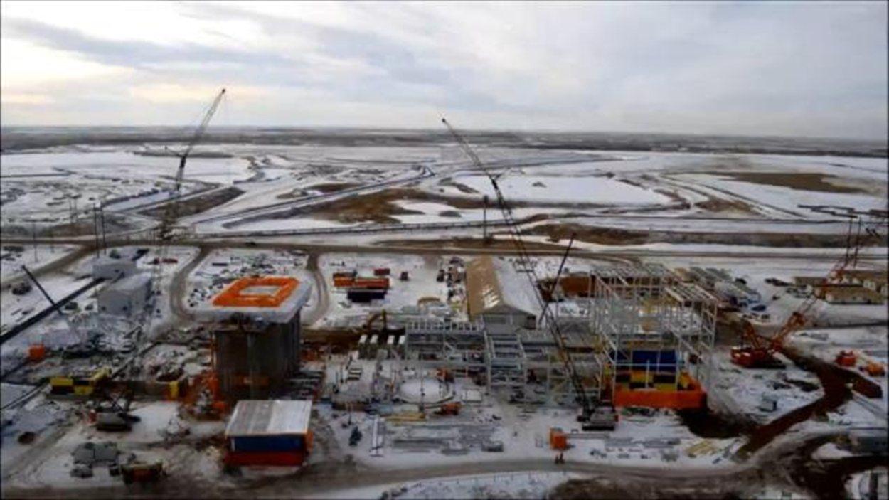 Quelques éléments de la construction de l'usine de captage de carbone à Estevan.
