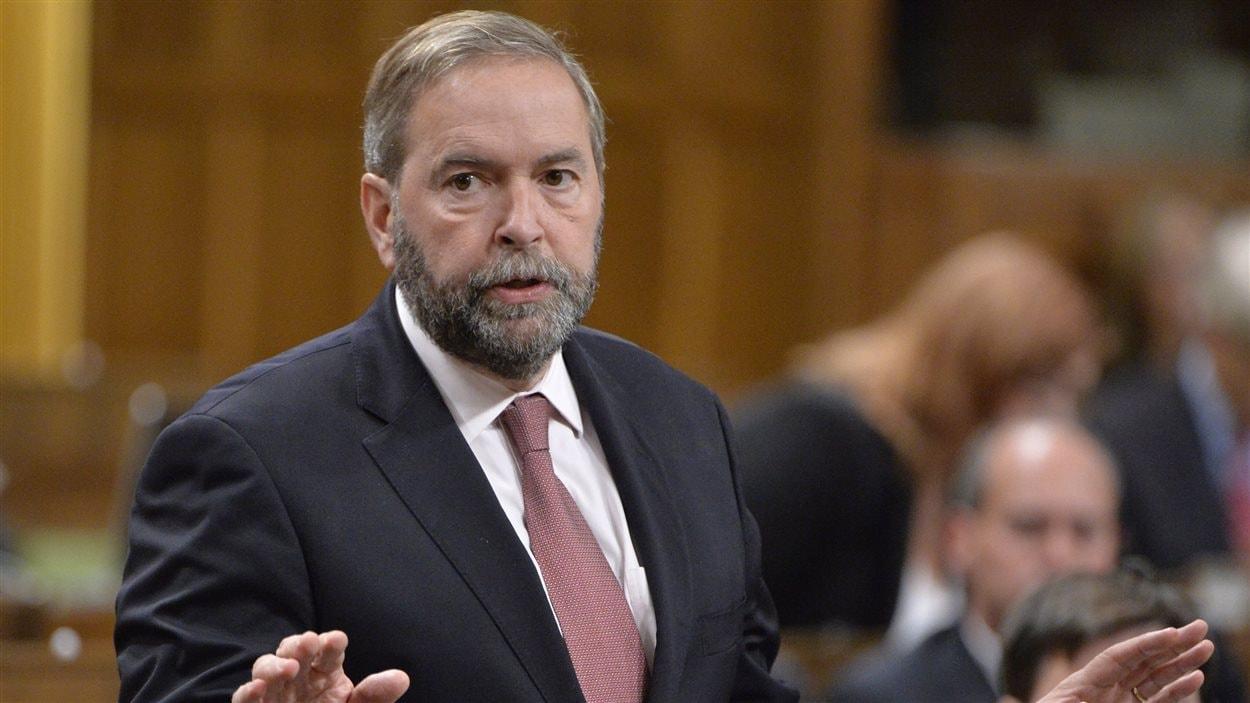 Thomas Mulcair lors du débat sur la mission canadienne contre l'État islamique aux Communes.