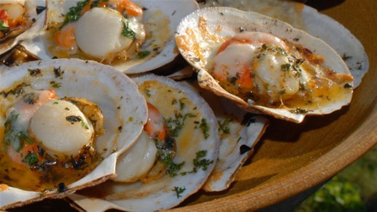 L'élevage du pétoncle (pectiniculture) pratiqué aux Îles de la Madeleine permet la mise en marché de pétoncle entier dans sa coquille à l'année.