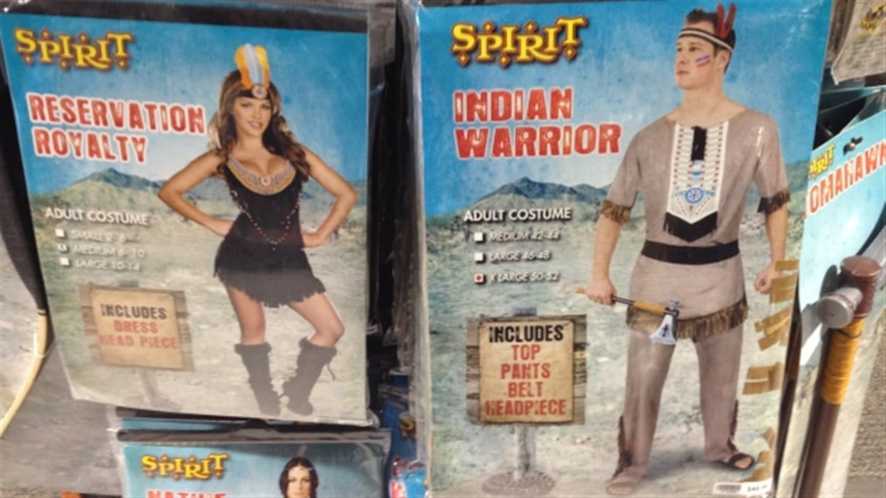 """The Spirit Halloween store on Regent Avenue in Winnipeg carries adult costume outfits with names like """"Reservation Royalty"""" and """"Indian Warrior."""" ()"""