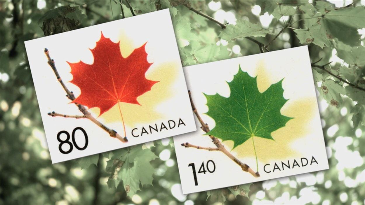 Des érables de Norvège sur les timbres de Postes Canada