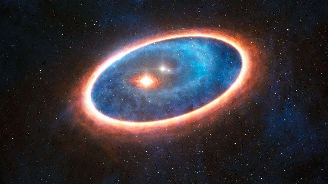 Vue d'artiste du système d'étoiles doubles GG Tauri-A