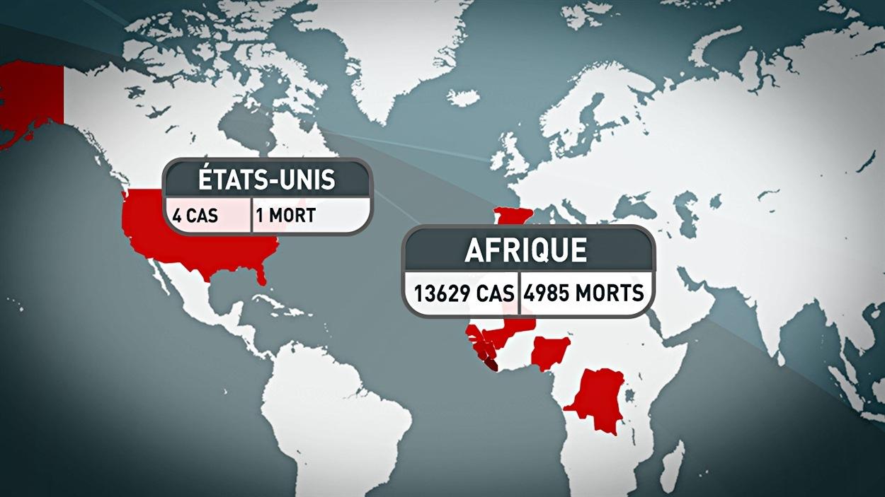 Le bilan du virus Ebola aux États-Unis et en Afrique.