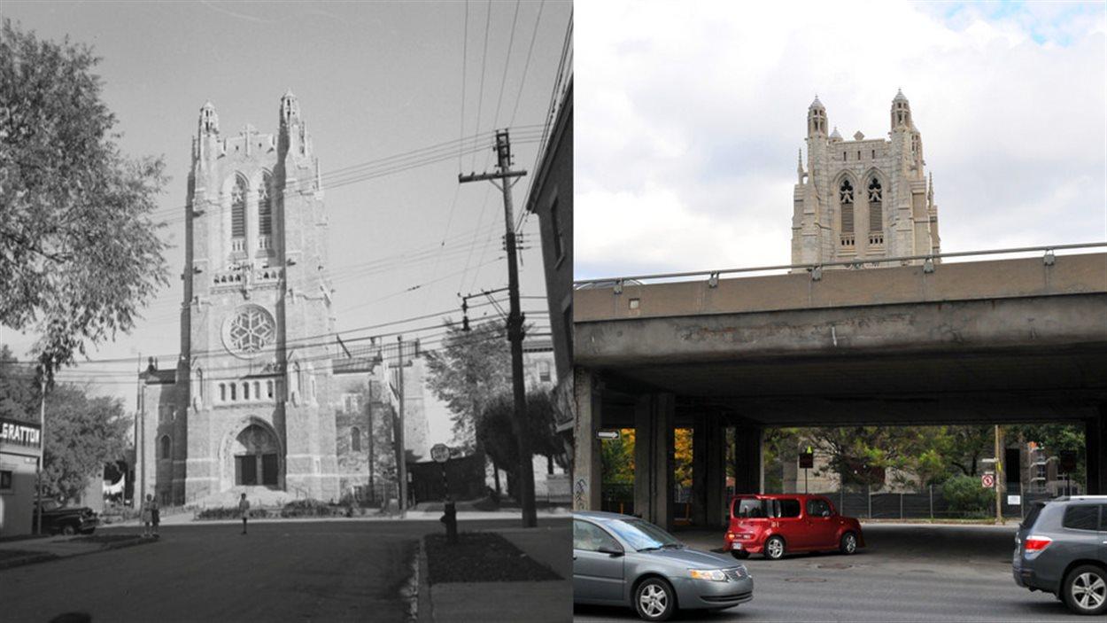 Une vue de l'église St-Alphonse d'Youville depuis la rue Basile Routhier. Cette paroisse fut scindée en deux dans les années 1960 lors de la construction de l'autoroute Métropolitaine.