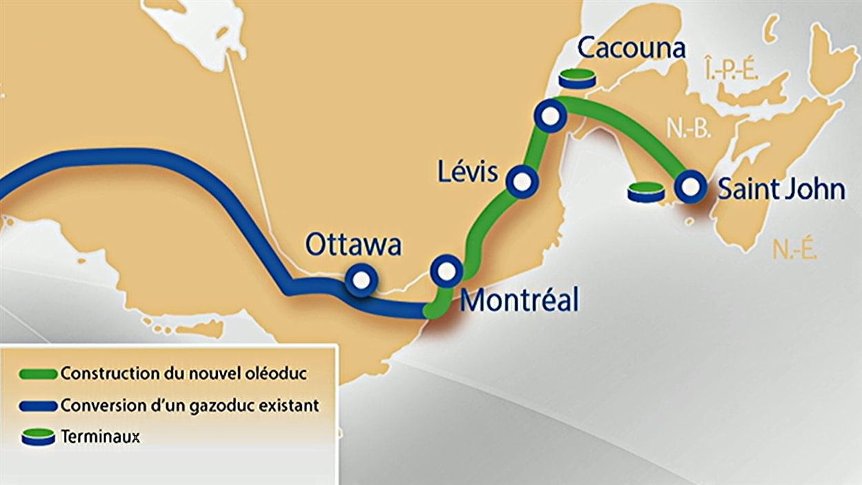Carte du tracé de l'oléoduc de TransCanada dans l'est du pays.