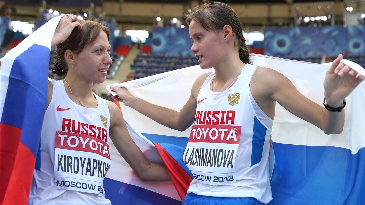 Anisyia Kirdyapkina et Elena Lashmanova aux Mondiaux d'athlétisme de Moscou en 2013