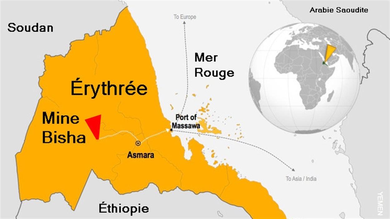 Une carte situant la mine Bisha à l'est d'Asmara en Érythrée.