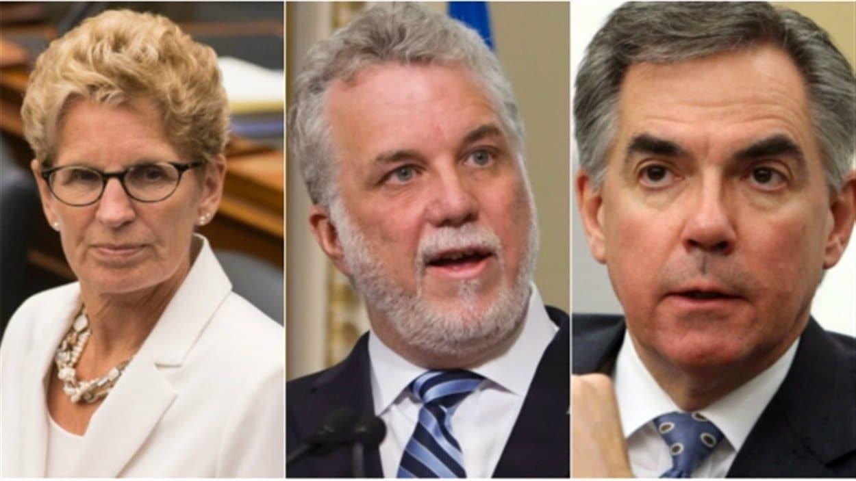 Les premiers ministre de l'Ontario, du Québec et de l'Alberta, respectivement Kathleen Wynne, Philippe Couillard et Jim Prentice, se rencontreront pour discuter du projet Énergie Est.
