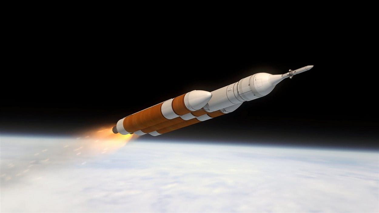 Représentation de l'ascension du vaisseau Orion