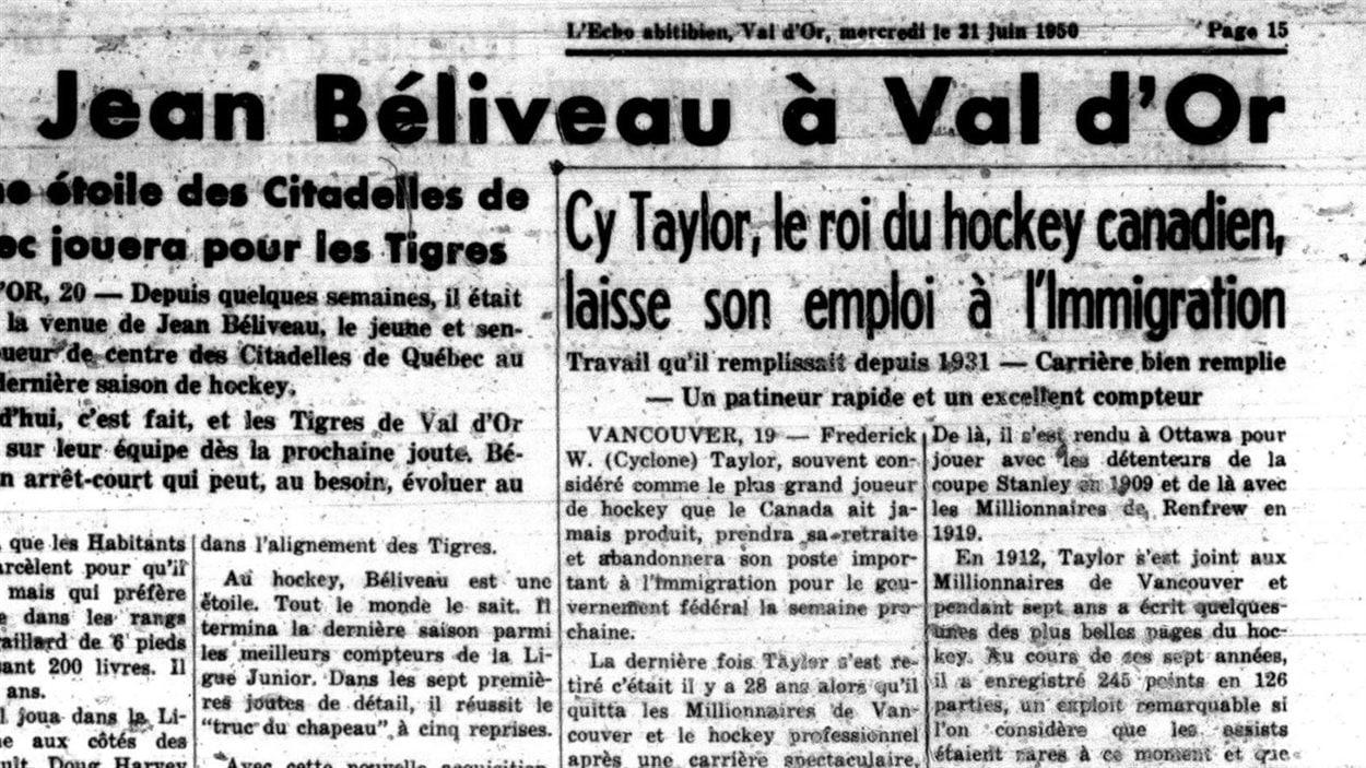Un article annonçant l'arrivée de Jean Béliveau à Val-d'Or