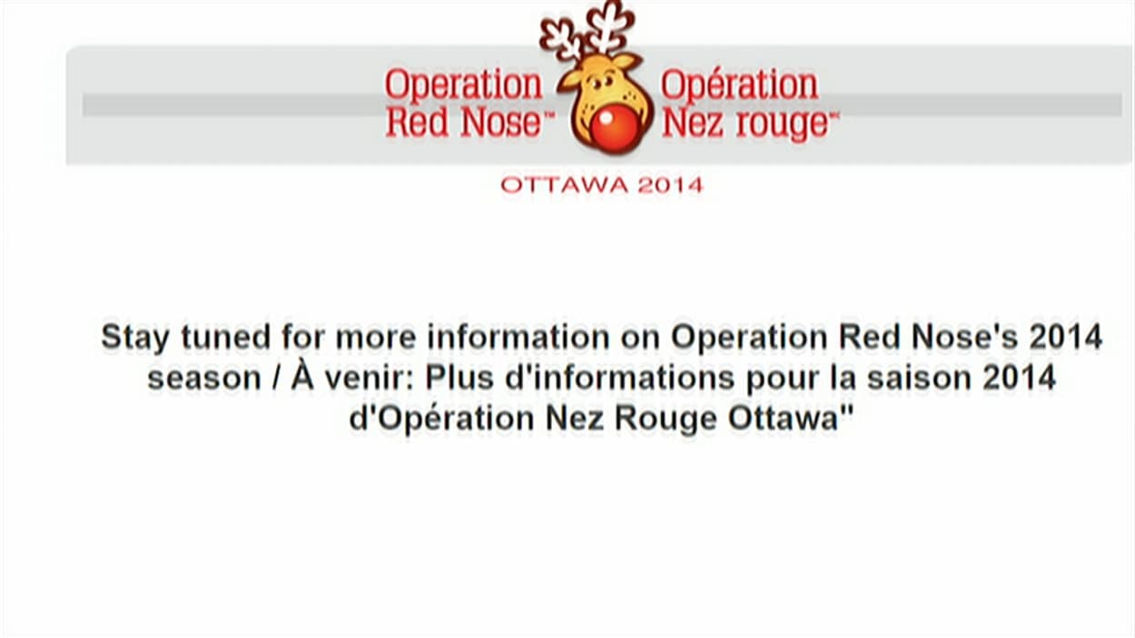 Le site web d'Opération Nez rouge à Ottawa n'a pas encore informé les utilisateurs de contacter la section Outaouais (05-12-14)