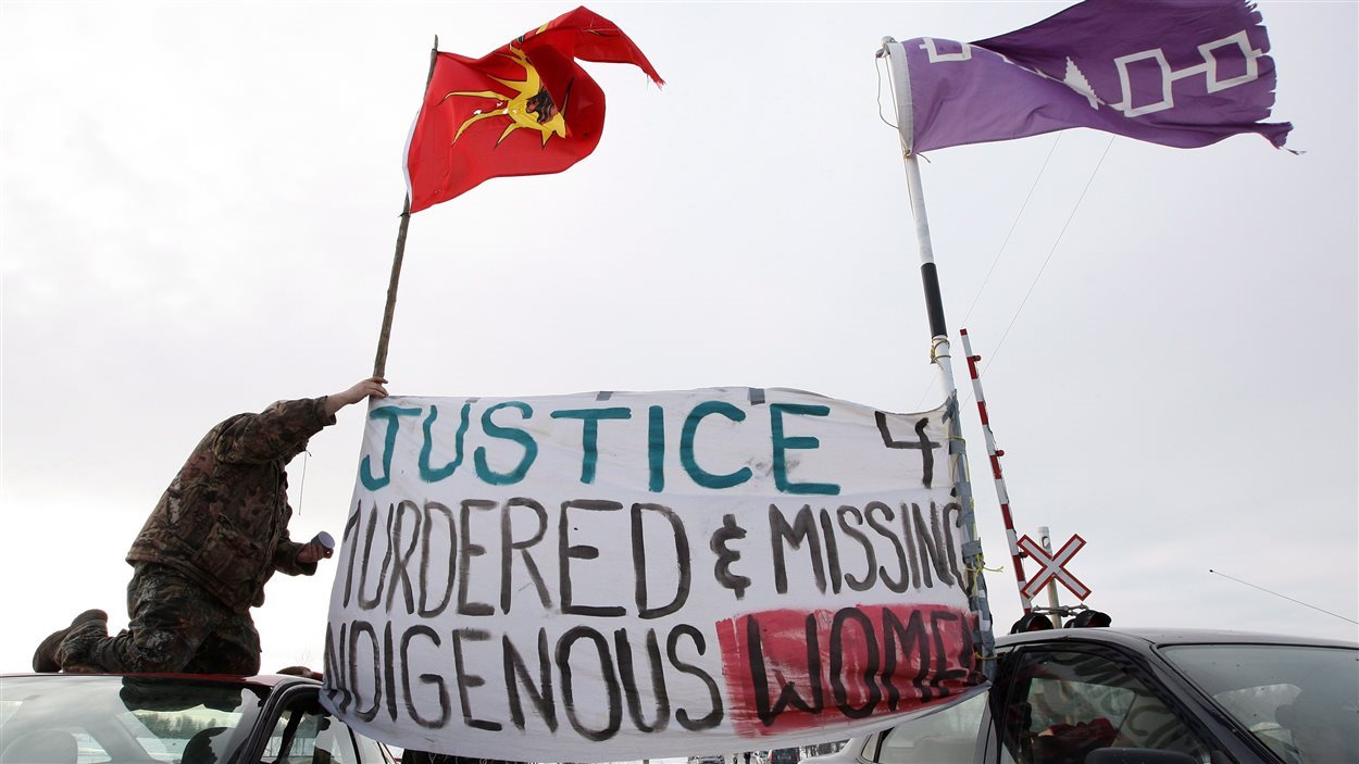 Manifestation pour les femmes autochtones disparues ou assassinées.